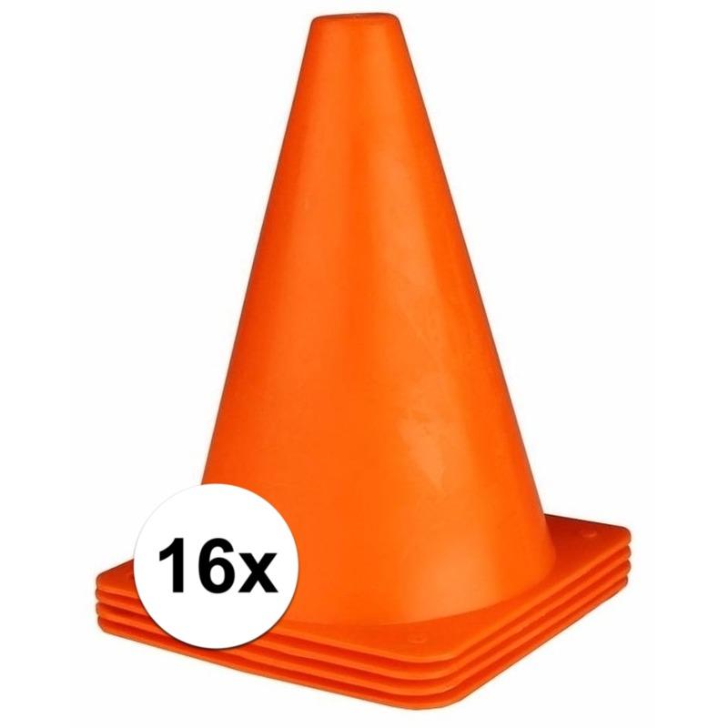 16x oranje pionnen 19 cm