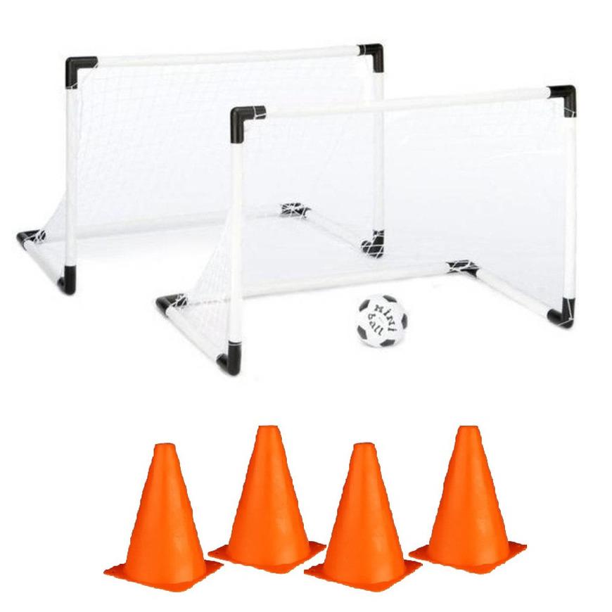 2x voetbal goals doelen set met 4x oranje pionnen van 19 cm